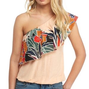 Annka Bubble Top One Shoulder Peach Floral Shirt